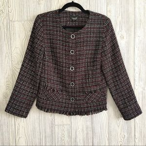 Jackets & Blazers - LINDOR Petite Tweed Plaid Raw Hem Blazer s…